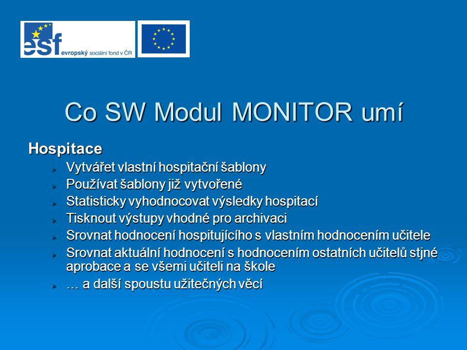 Co SW Modul MONITOR umí Hospitace Vytvářet vlastní hospitační šablony