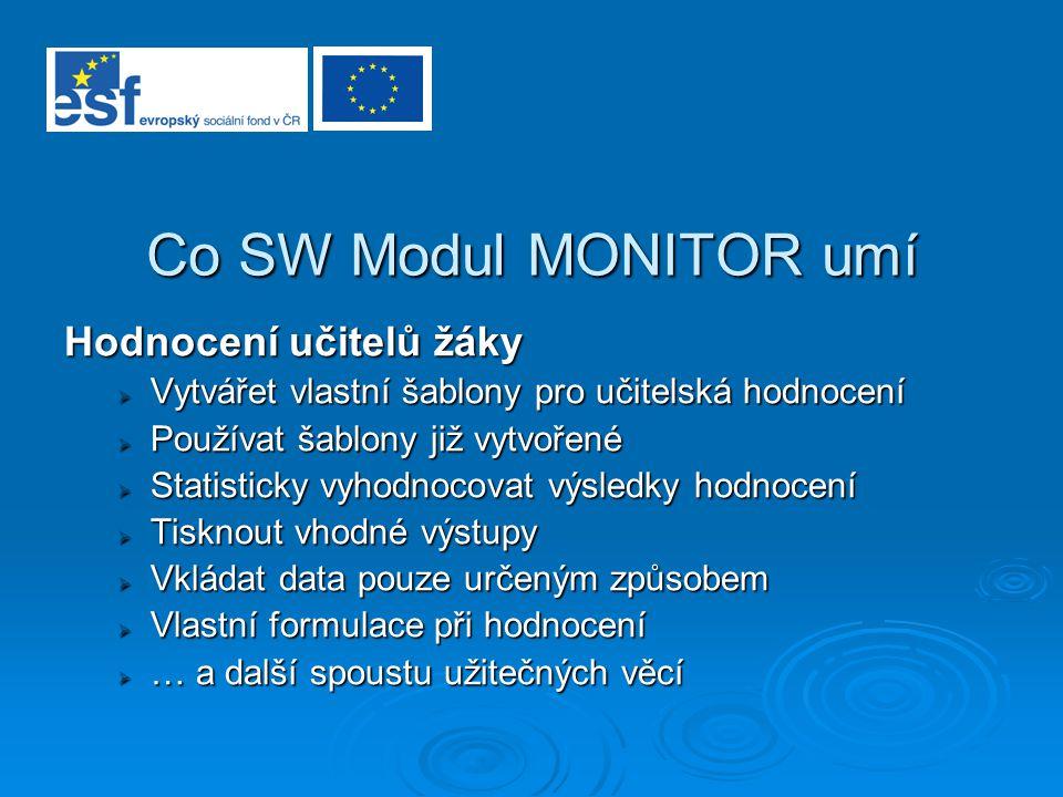 Co SW Modul MONITOR umí Hodnocení učitelů žáky