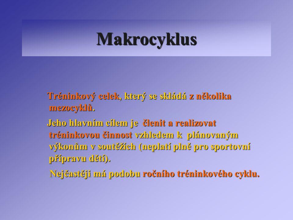 Makrocyklus Tréninkový celek, který se skládá z několika mezocyklů.