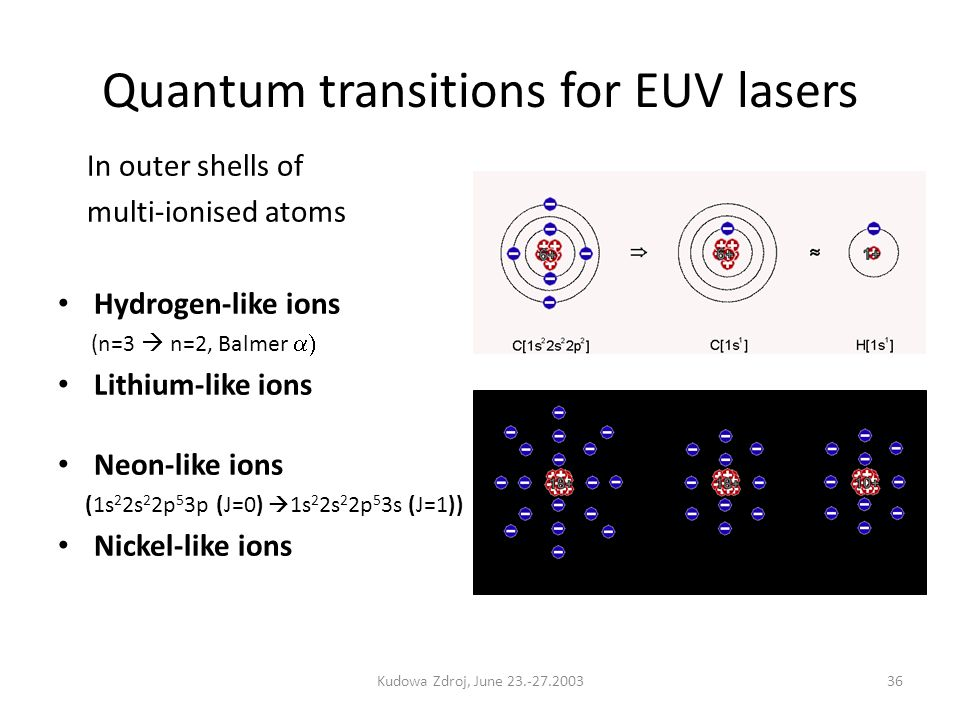 Quantum transitions for EUV lasers