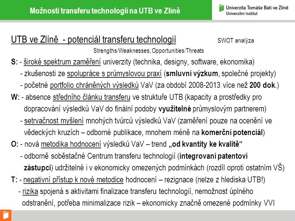 Možnosti transferu technologií na UTB ve Zlíně