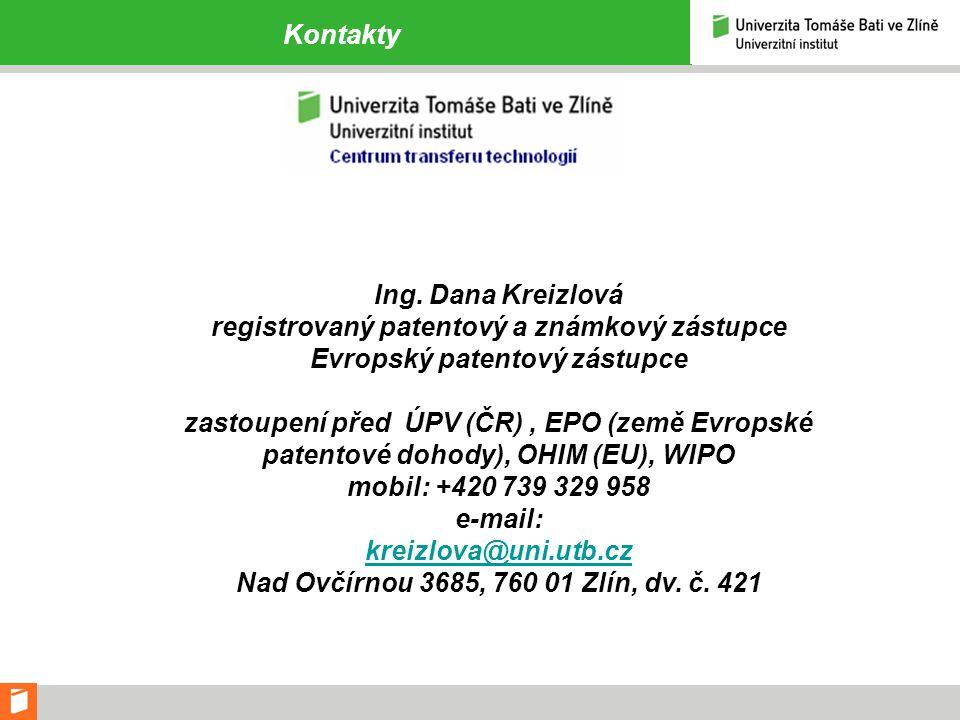 registrovaný patentový a známkový zástupce Evropský patentový zástupce