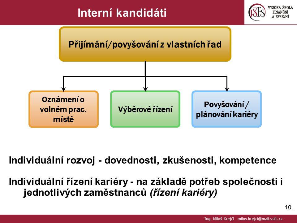 Interní kandidáti Přijímání/povyšování z vlastních řad