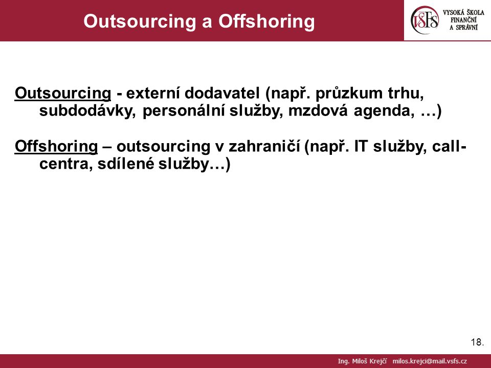 Outsourcing a Offshoring