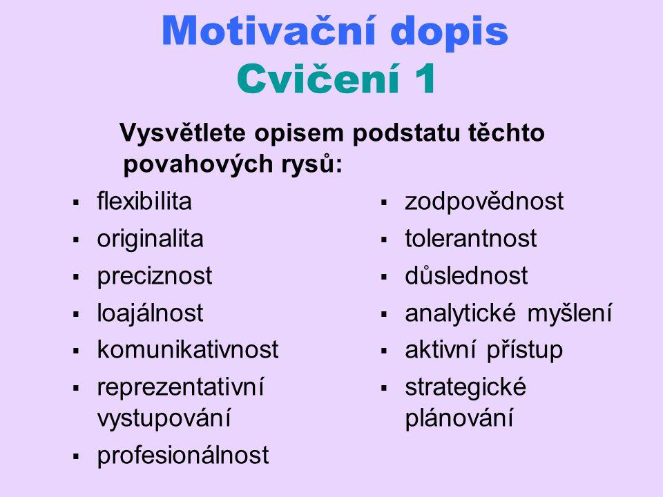 Motivační dopis Cvičení 1