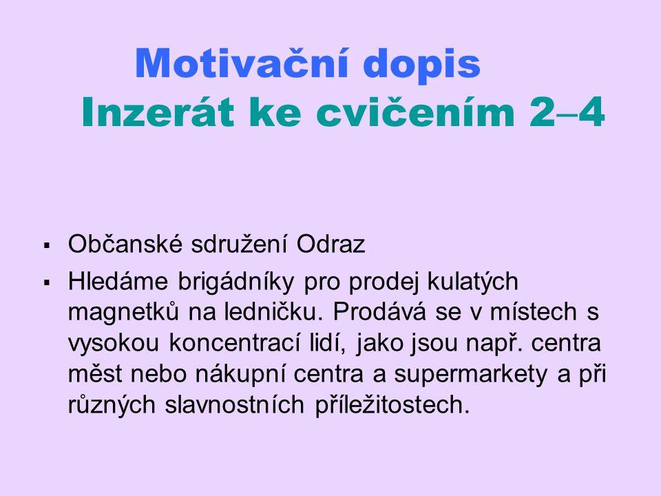 Motivační dopis Inzerát ke cvičením 24