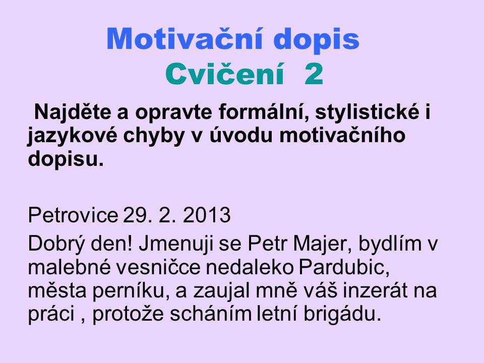 Motivační dopis Cvičení 2
