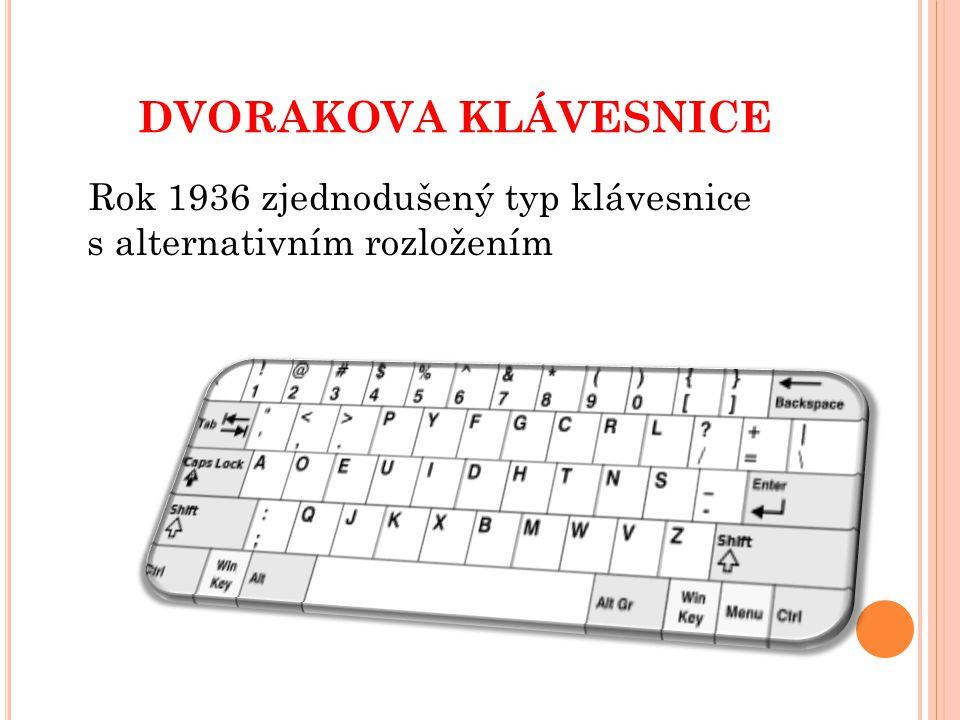 dvorakova klávesnice Rok 1936 zjednodušený typ klávesnice s alternativním rozložením
