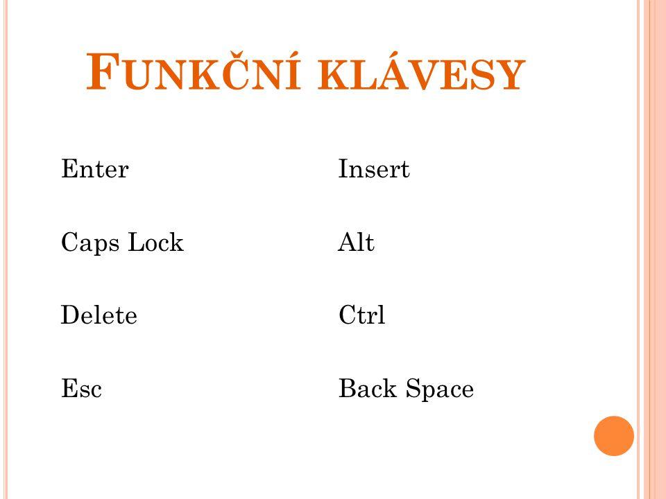 Funkční klávesy Enter Caps Lock Delete Esc Insert Alt Ctrl Back Space
