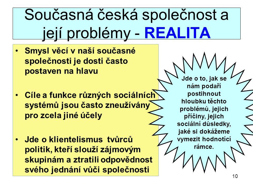 Současná česká společnost a její problémy - REALITA