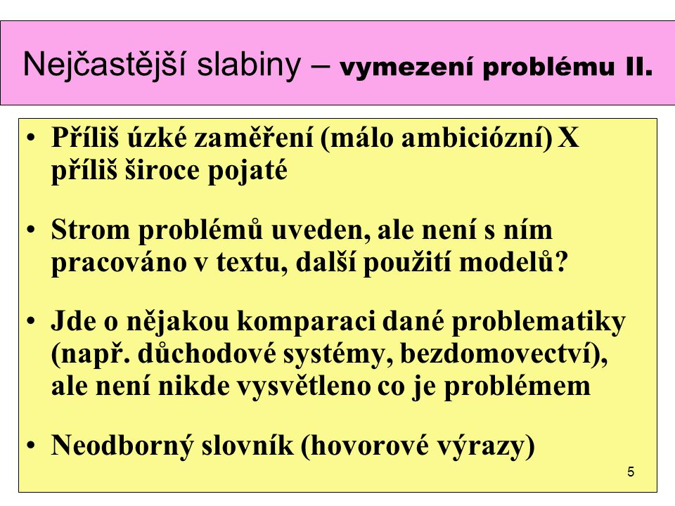 Nejčastější slabiny – vymezení problému II.