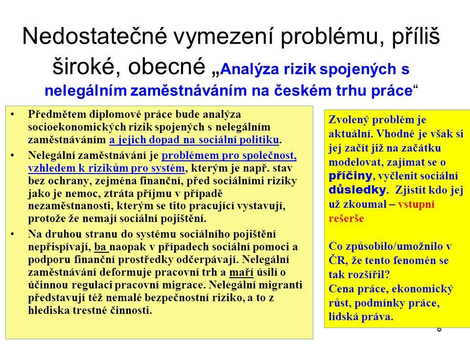 """Nedostatečné vymezení problému, příliš široké, obecné """"Analýza rizik spojených s nelegálním zaměstnáváním na českém trhu práce"""
