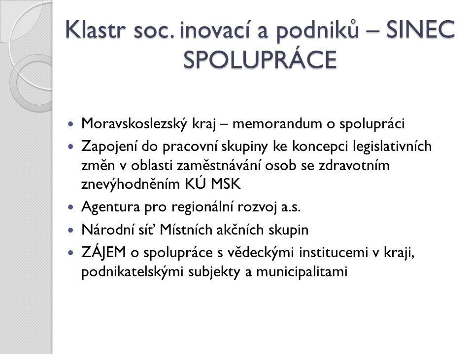Klastr soc. inovací a podniků – SINEC SPOLUPRÁCE