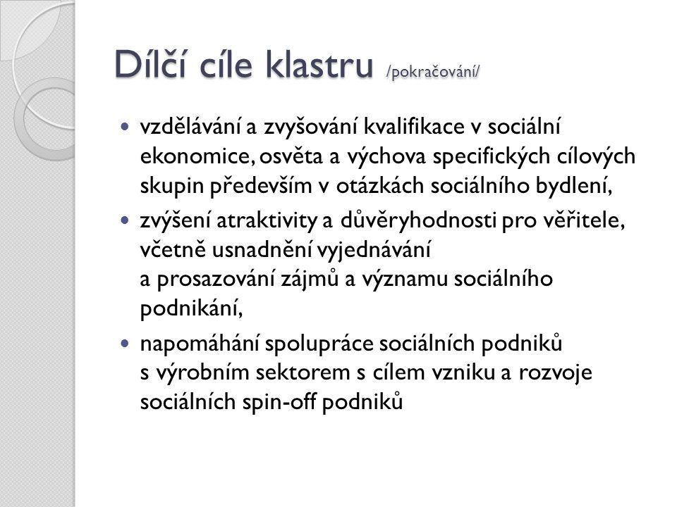 Dílčí cíle klastru /pokračování/