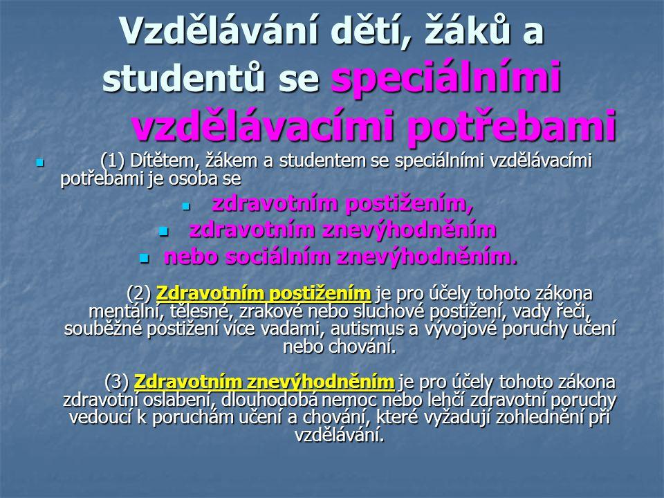 Vzdělávání dětí, žáků a studentů se speciálními vzdělávacími potřebami