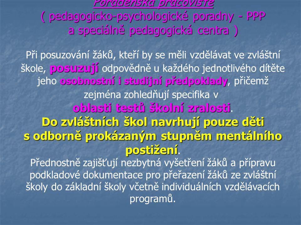Poradenská pracoviště ( pedagogicko-psychologické poradny - PPP