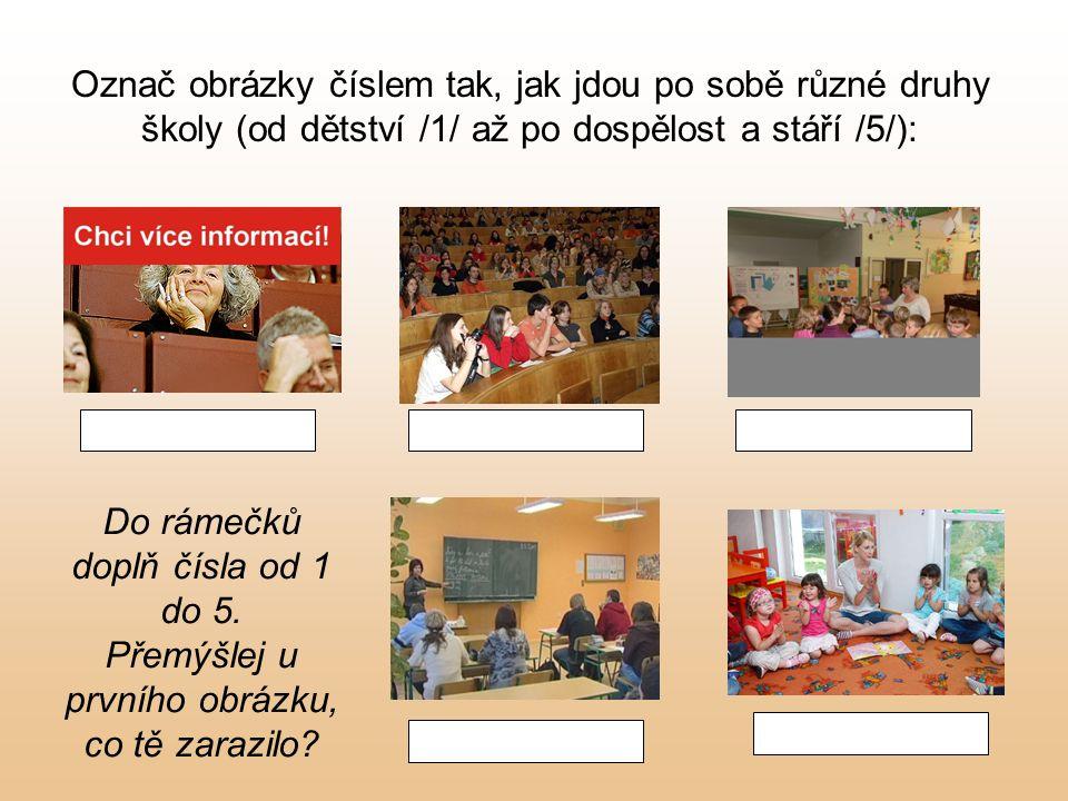 Označ obrázky číslem tak, jak jdou po sobě různé druhy školy (od dětství /1/ až po dospělost a stáří /5/):