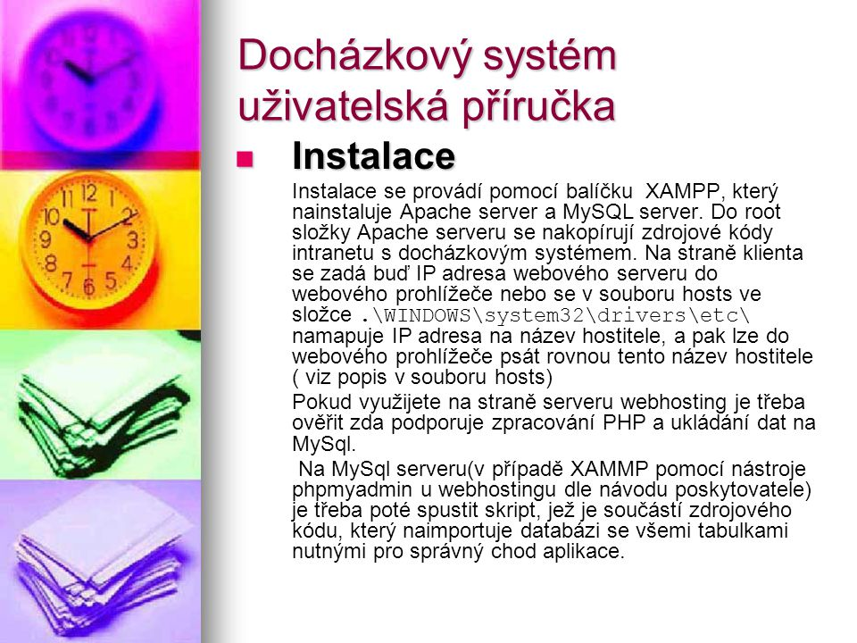 Docházkový systém uživatelská příručka