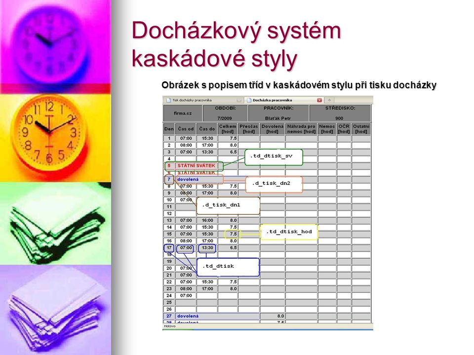 Docházkový systém kaskádové styly