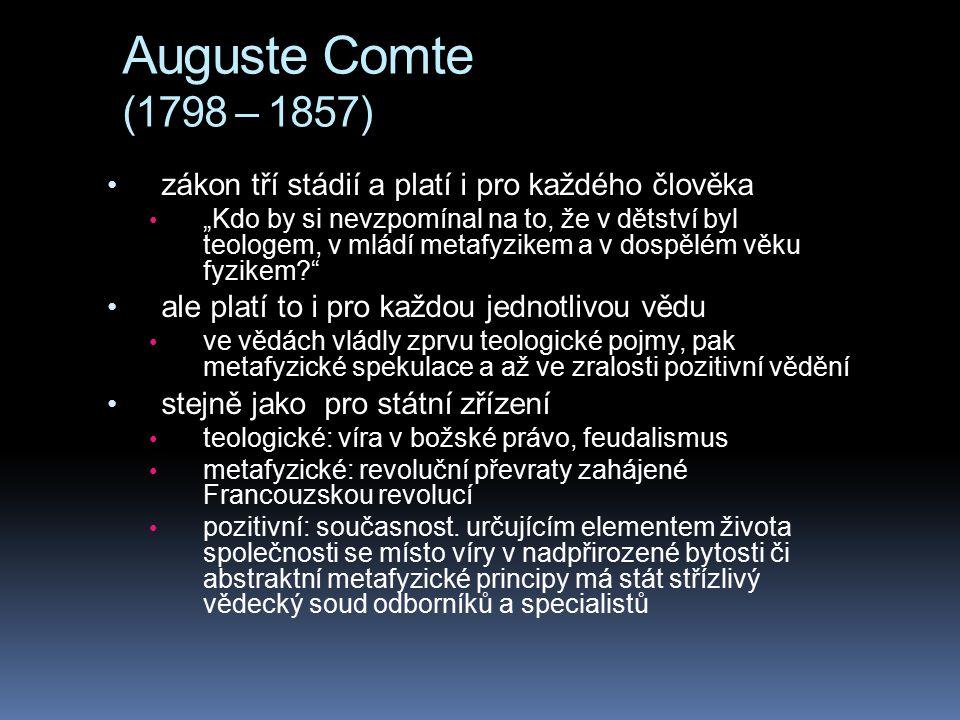 Auguste Comte (1798 – 1857) zákon tří stádií a platí i pro každého člověka.