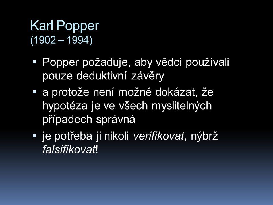 Karl Popper (1902 – 1994) Popper požaduje, aby vědci používali pouze deduktivní závěry.