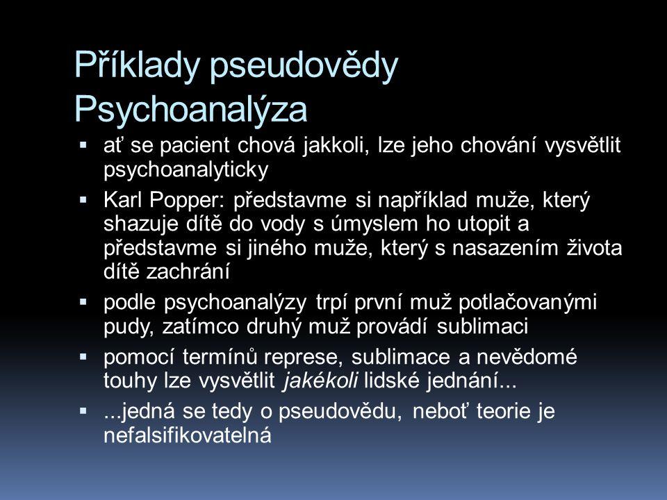 Příklady pseudovědy Psychoanalýza