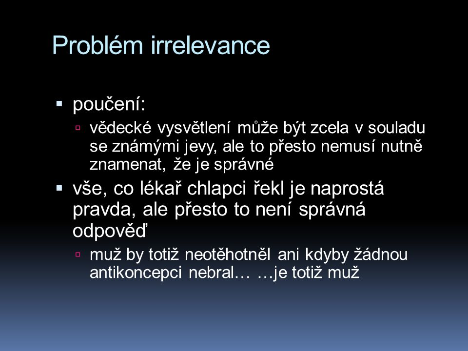 Problém irrelevance poučení: