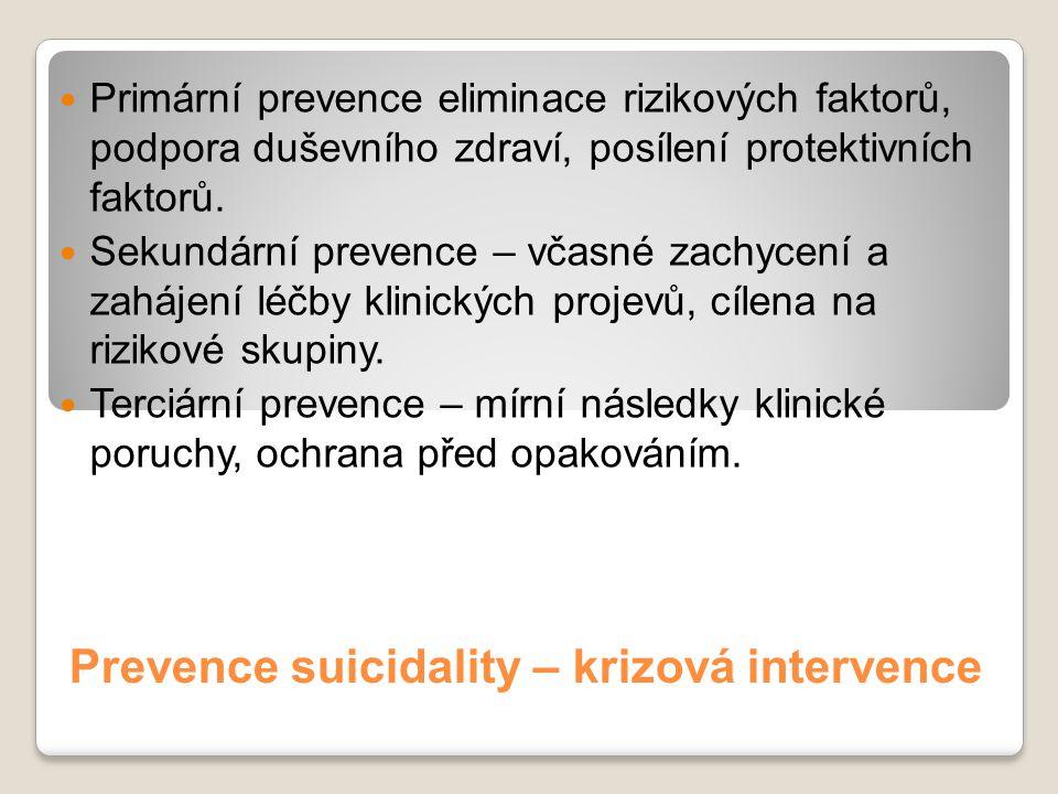 Prevence suicidality – krizová intervence