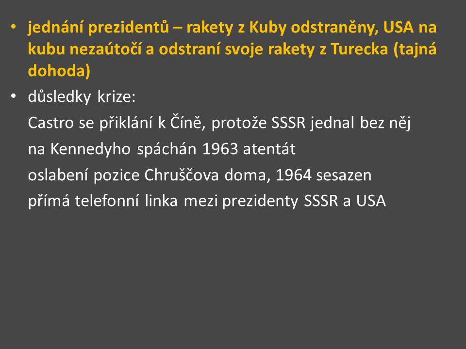 jednání prezidentů – rakety z Kuby odstraněny, USA na kubu nezaútočí a odstraní svoje rakety z Turecka (tajná dohoda)