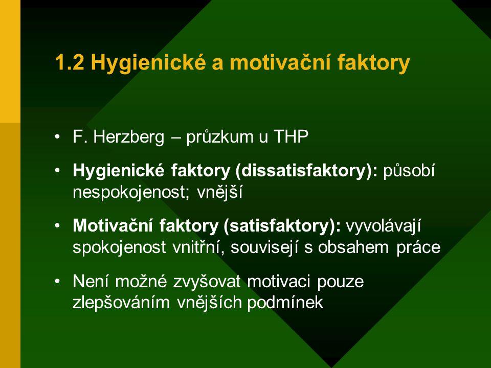 1.2 Hygienické a motivační faktory