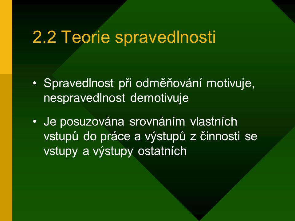 2.2 Teorie spravedlnosti Spravedlnost při odměňování motivuje, nespravedlnost demotivuje.