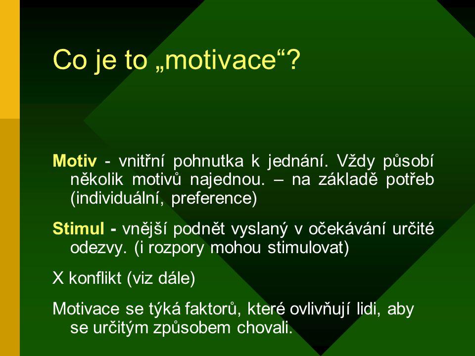 """Co je to """"motivace Motiv - vnitřní pohnutka k jednání. Vždy působí několik motivů najednou. – na základě potřeb (individuální, preference)"""