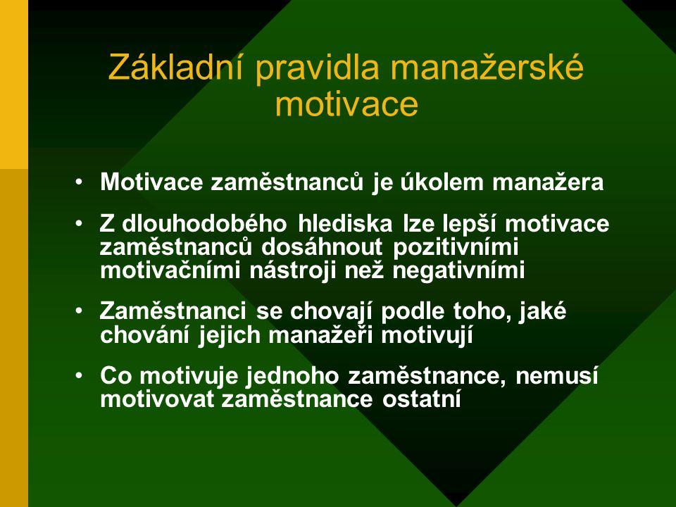 Základní pravidla manažerské motivace