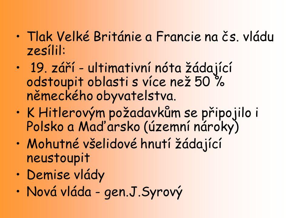 Tlak Velké Británie a Francie na čs. vládu zesílil: