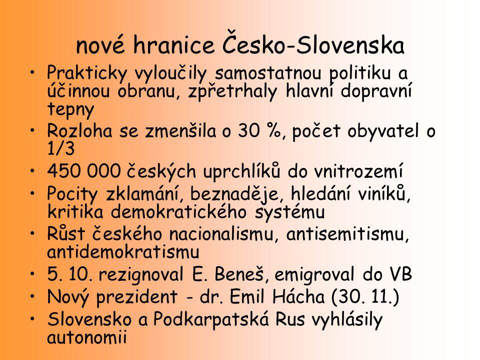 nové hranice Česko-Slovenska