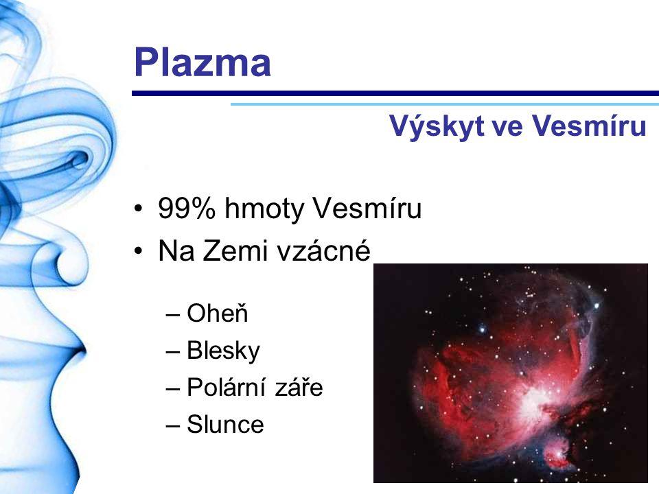 Plazma Výskyt ve Vesmíru 99% hmoty Vesmíru Na Zemi vzácné Oheň Blesky
