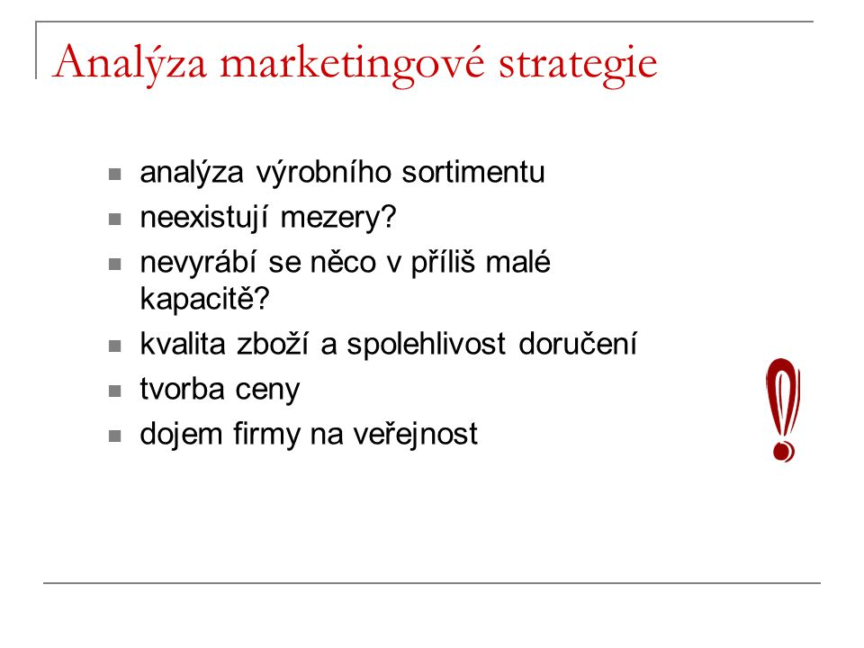 Analýza marketingové strategie