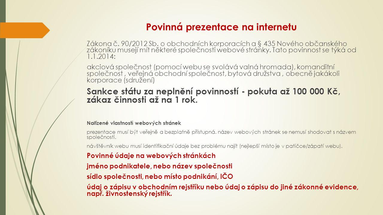Povinná prezentace na internetu