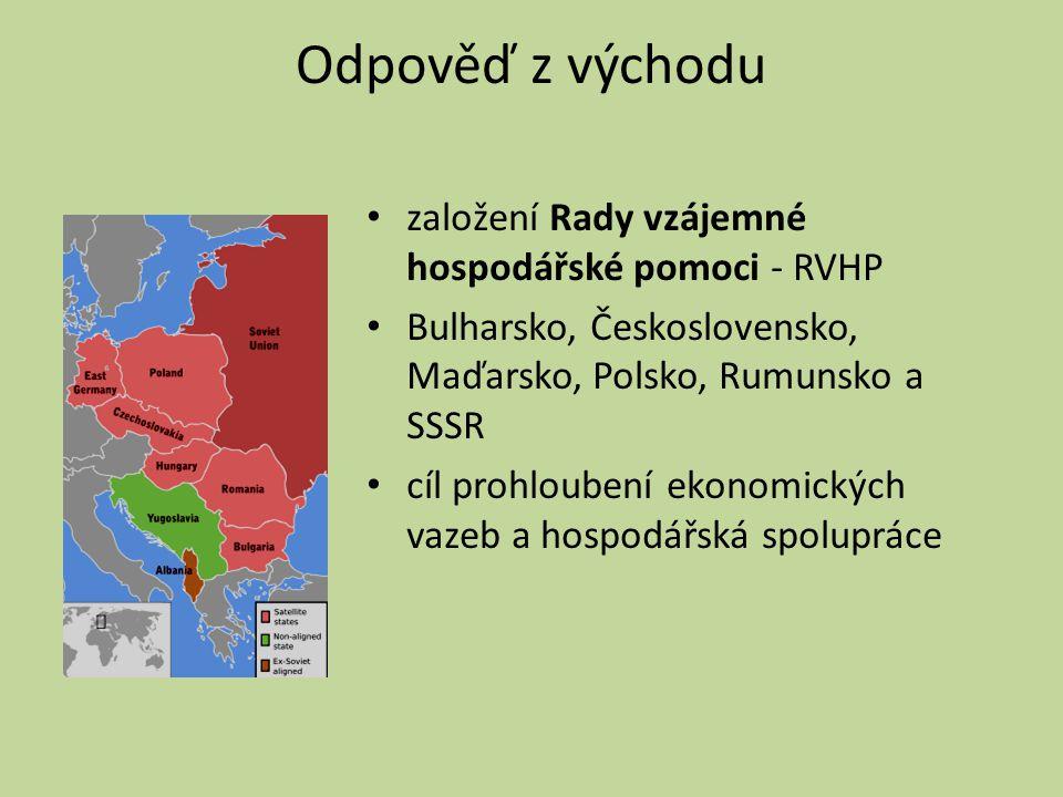 Odpověď z východu založení Rady vzájemné hospodářské pomoci - RVHP