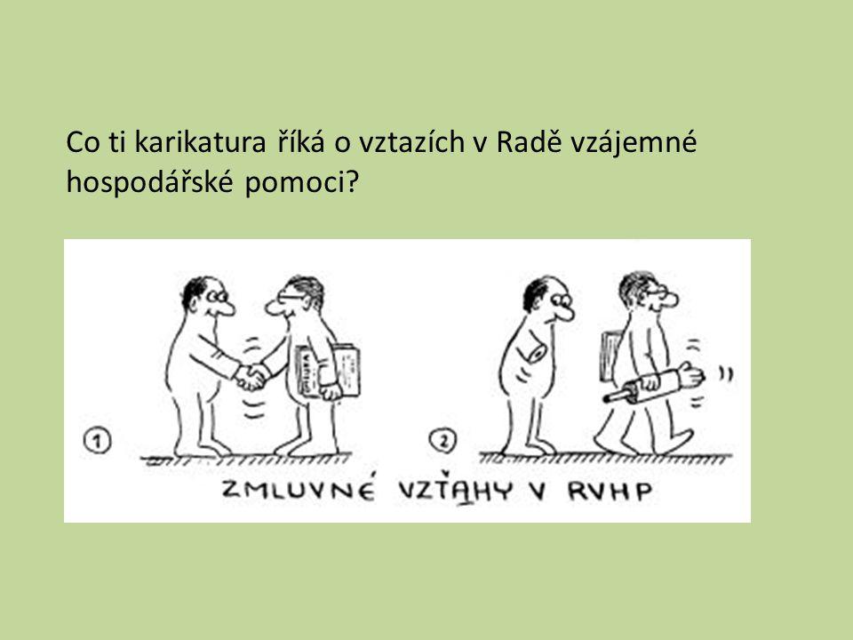 Co ti karikatura říká o vztazích v Radě vzájemné hospodářské pomoci