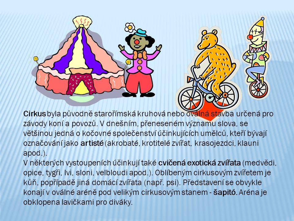 Cirkus byla původně starořímská kruhová nebo oválná stavba určená pro závody koní a povozů. V dnešním, přeneseném významu slova, se většinou jedná o kočovné společenství účinkujících umělců, kteří bývají označování jako artisté (akrobaté, krotitelé zvířat, krasojezdci, klauni apod.).
