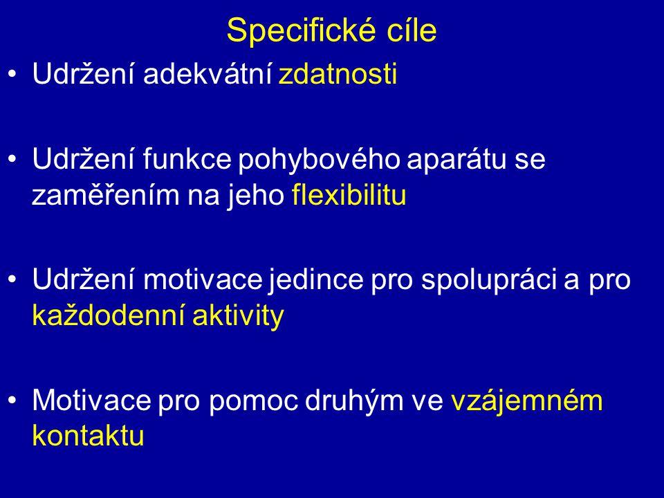 Specifické cíle Udržení adekvátní zdatnosti