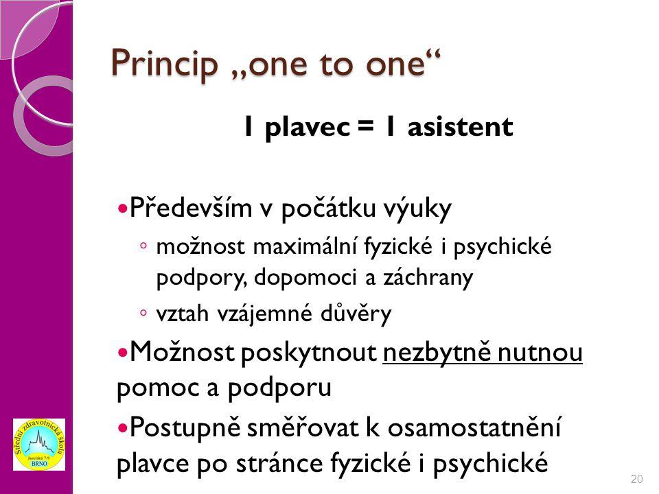 """Princip """"one to one 1 plavec = 1 asistent Především v počátku výuky"""