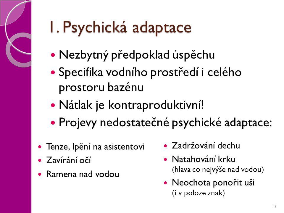 1. Psychická adaptace Nezbytný předpoklad úspěchu