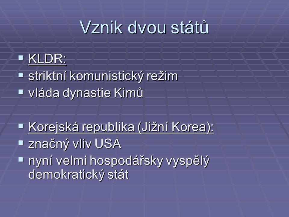 Vznik dvou států KLDR: striktní komunistický režim vláda dynastie Kimů