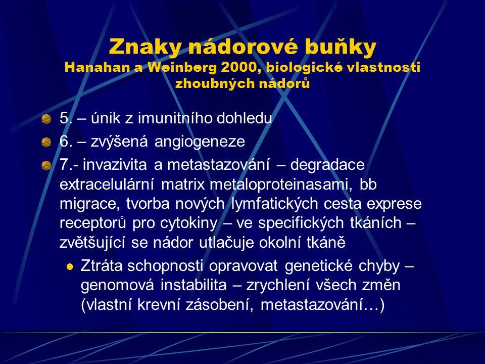 Znaky nádorové buňky Hanahan a Weinberg 2000, biologické vlastnosti zhoubných nádorů