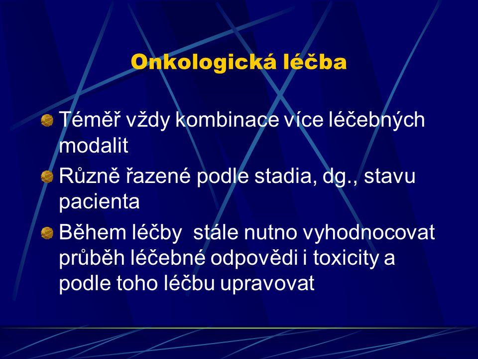Onkologická léčba Téměř vždy kombinace více léčebných modalit. Různě řazené podle stadia, dg., stavu pacienta.