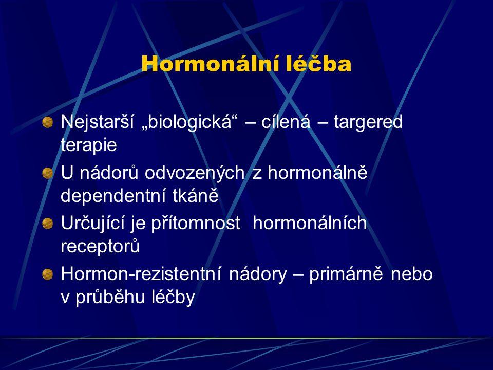 """Hormonální léčba Nejstarší """"biologická – cílená – targered terapie"""