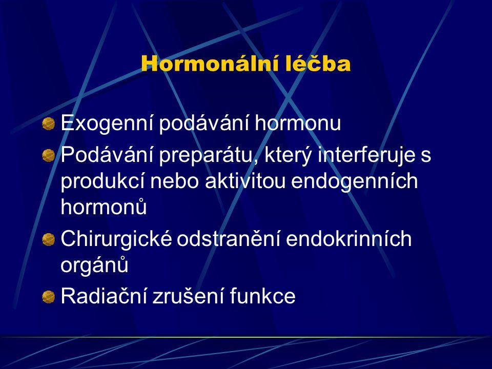 Hormonální léčba Exogenní podávání hormonu. Podávání preparátu, který interferuje s produkcí nebo aktivitou endogenních hormonů.