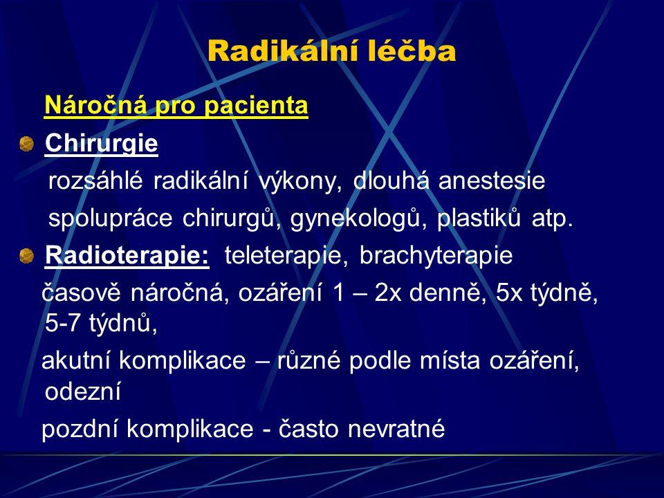 Radikální léčba Náročná pro pacienta Chirurgie